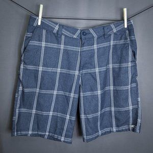 ONeill Mens Shorts 38 Blue Plaid Flat Front Casual